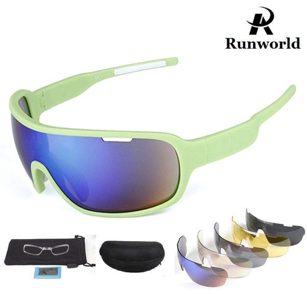 Runworld Sports Sunglasses for Men Women with 5 Interchangeable Lenses Outdoor Sport MTB Cycling Running Driving Baseball Glasses Eyewear UV Protection (Black)