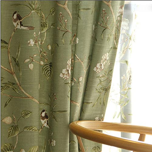 pureaqu Thermal Insulated Floral Birds Design Semi Blackout Curtains 96 Inches Long