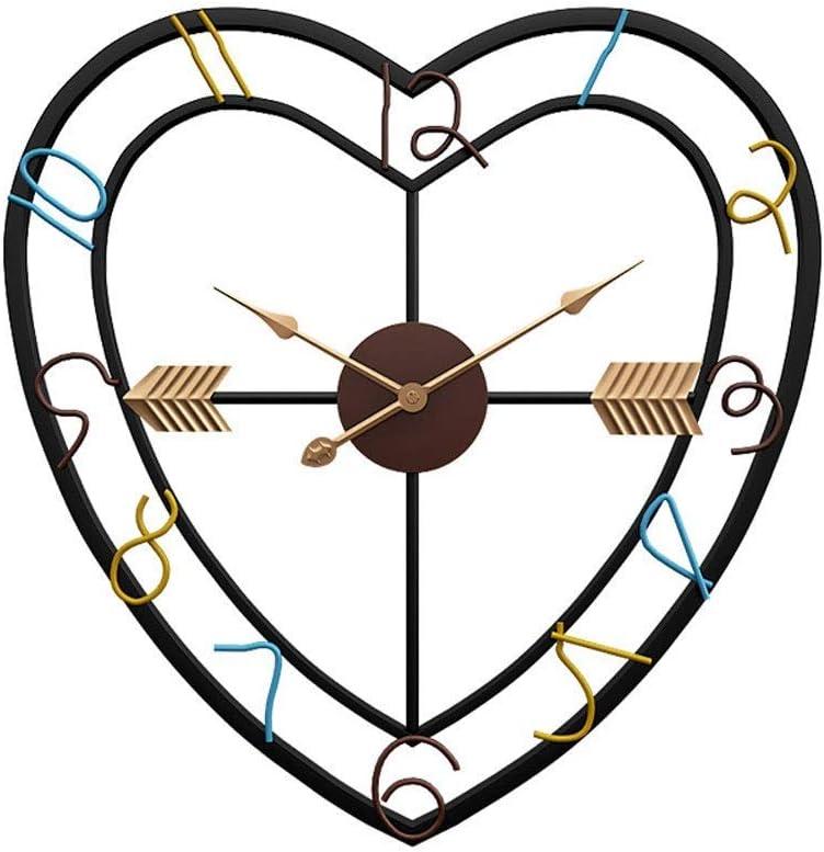 大きな金属壁時計錬鉄製のハート型のリビングルームクロック20インチのファッション創造的人格ミュートには内装壁時計をチェックしません meyeye