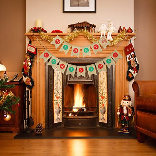 2IN1 Merry Christmas Banner Burlap,Konsait Christmas Party Bunting Banner Garland Santa Clause Pattern for Fireplace Picture Outdoor Indoor Decorations,Xmas Home Photo Prop Party Decor Favors Supplies