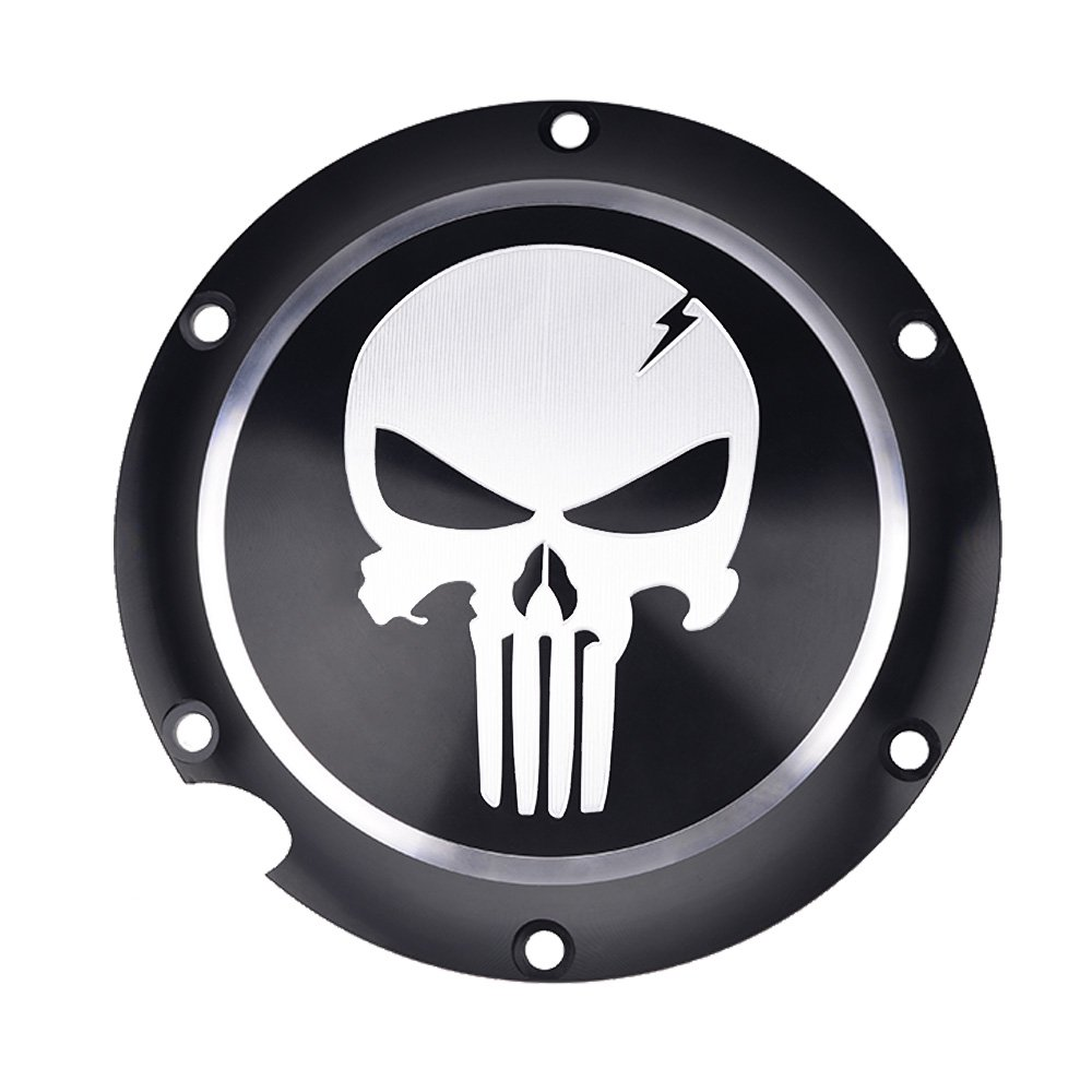 Frenshion Motorcycle Skull Black Timing Accessories Derby Timer Cover For Harley Sportster Iron XL 883 1200 04-14 2pc of 1 package