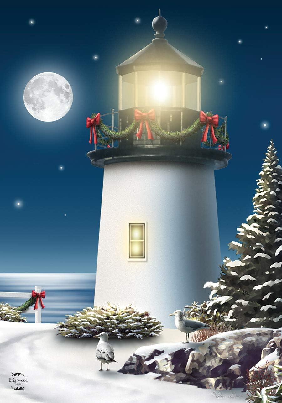 "Briarwood Lane The Endless Night Christmas Garden Flag Nautical Lighthouse 12.5"" x 18"""
