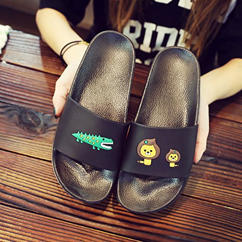 women cool stay 36 Black indoor home summer Black anti cartoon and bathroom summer bath 37 thick couples slip slippers fankou Slippers men pwB7nqB5
