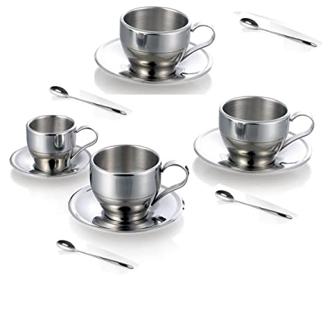 0d9cd061f7f Jasni Stainless Steel Coffee Cup Coffee Mugs Espresso Cups and Great Cappuccino  Cups with Spoon and