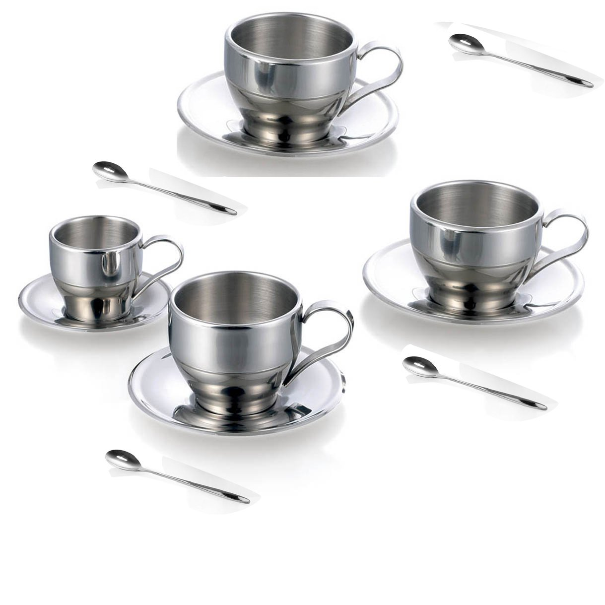Jasni Stainless Steel Coffee Cup Coffee Mugs Espresso Cups and Great Cappuccino Cups with Spoon and Saucer Gift Idea for Coffee and Tea Lovers (4 packs)