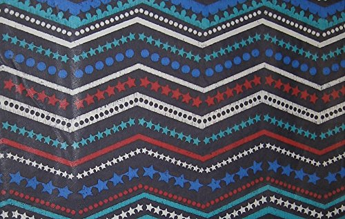 Stars Dots and Chevron Stripes Vinyl Tablecloth with Flannel Back (52x90 Inch Oblong Rectangle)