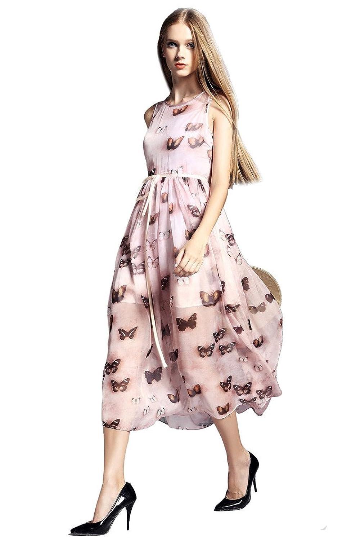 Orifashion Printed Butterfly Sleeveless A-line Chiffon Long Dress