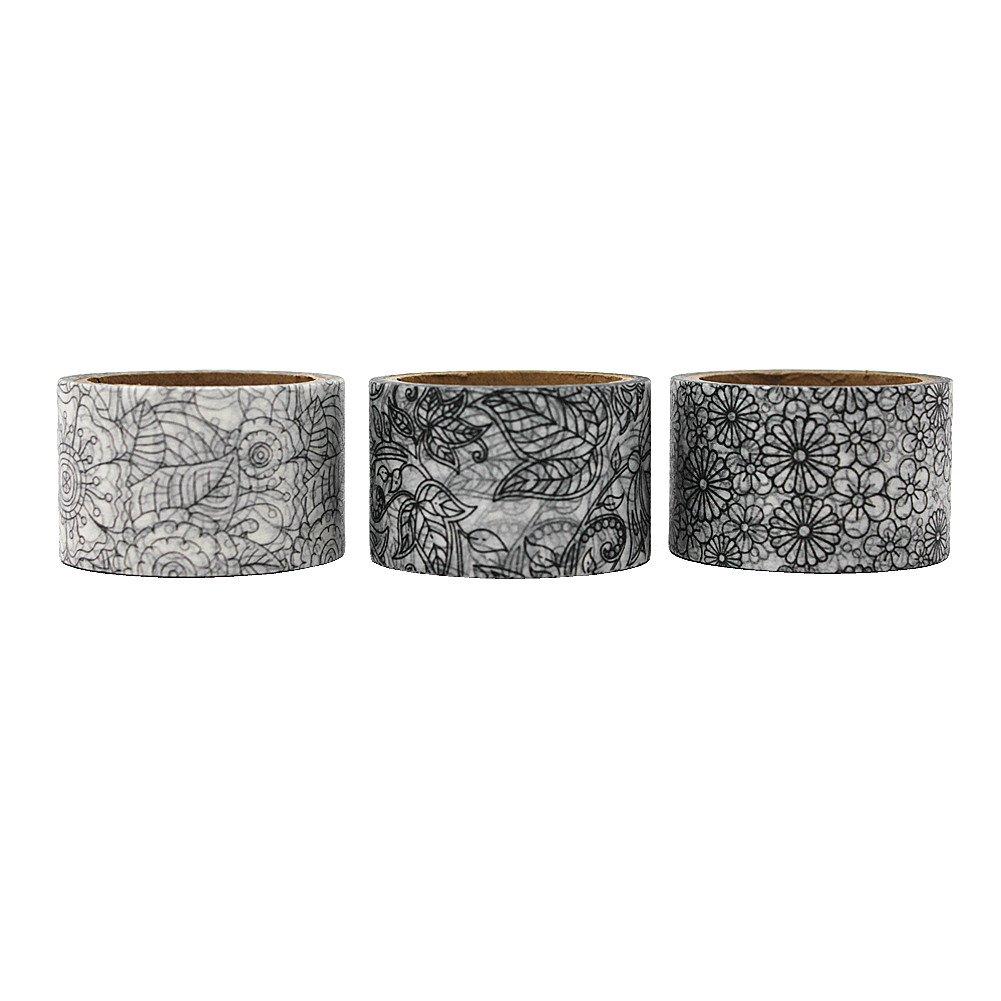 Dawnzen® Cinta de Papel Washi Cinta Adhesiva Decorativa para Decoración DIY Scrapbooking Craft Embalaje de Regalo, 3 Rolls 30mm x 5m, Gris Patrón Flores ...