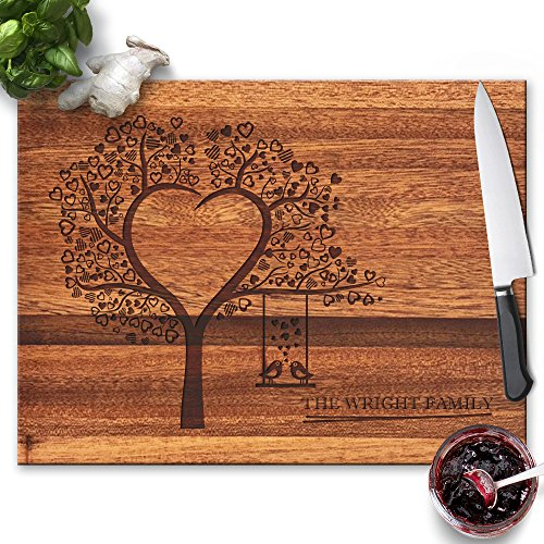 Froolu Heart Tree wood cutting boards for Young Couples Christmas Gifts ()