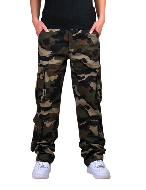 Menschwear Men's Workwear Cargo Combat Long Trousers Outwear with Belt Camouflage