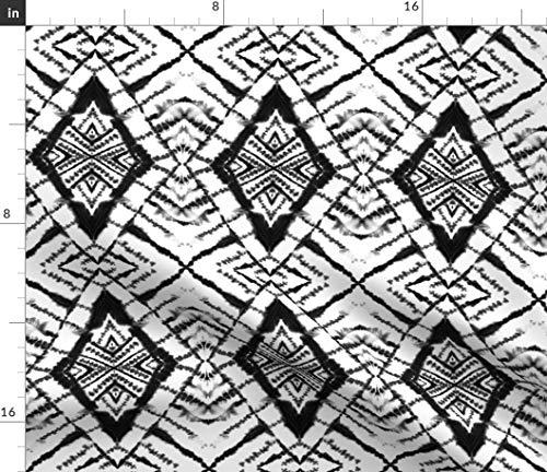 - Spoonflower Black White Tie Dye Fabric - Diamond and Watercolor Shibori Mirror Jacqueline Maldonado Print on Fabric by The Yard - Denim for Sewing Bottomweight Apparel Home Decor Upholstery