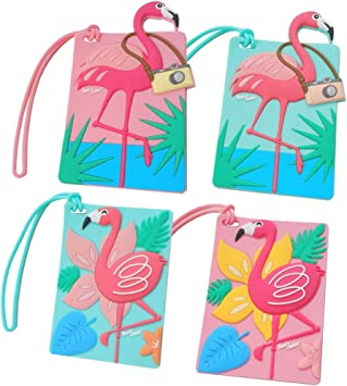 Cute Popcorn Travel Luggage Tags With Full Privacy Cover Leather Case And Stainless Steel Loop