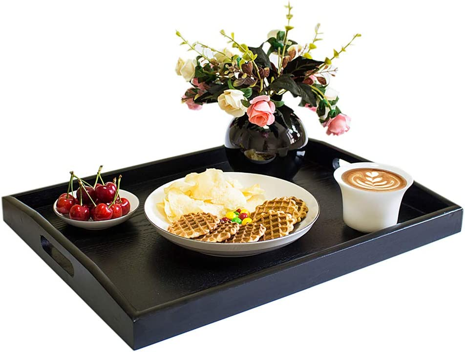 Kyonoka Large Trays Serving Trays Serving Tray with Handles Trays for Eating Breakfast Food Trays Serving Tray Restaurant Ottomans Wooden Black (Large)
