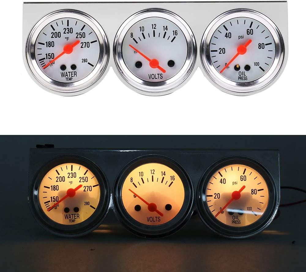 Semoic 12V Triple Gauge Kit Three in One 2 Inch 52mm Mechanical Shell Water Temperature Oil Pressure Voltage Triple Meter