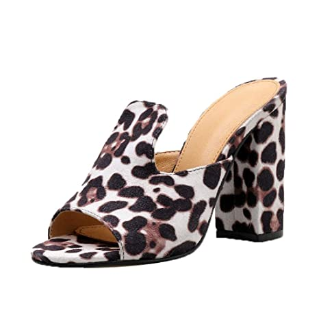 cc581432053e Women Summer Outdoor Leopard High Heels Fish Mouth Casual Slippers Slides  Shoes (Brown, US