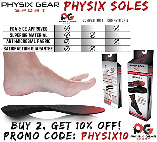 f5c6597a3f ... Physix Gear Sport Full Length Orthotic Inserts with Arch Support - Best  Shock Absorption & Cushioning ...