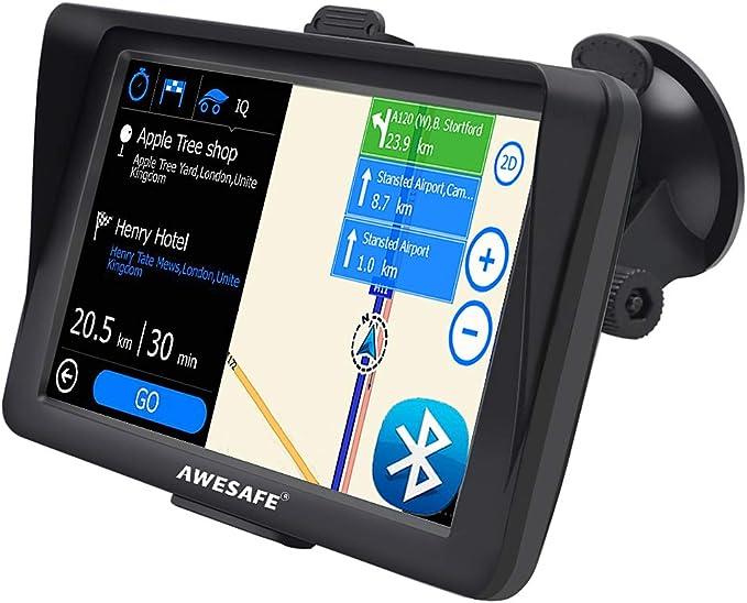 AWESAFE Navegador GPS para Coches con Visera y Bluetooth de 7 Pulgadas, con Mapas Últimos y Actualizaciones de por Vida: Amazon.es: Electrónica