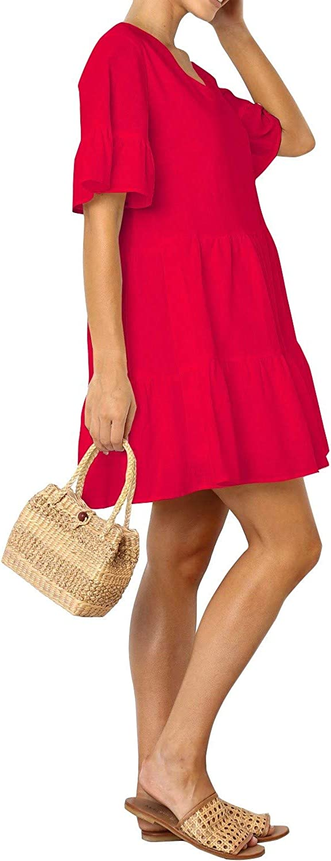FANCYINN Sommerkleid Damen Kurz Tunika Kleid V-Ausschnitt Volant Lockeres Swing Mini Kleider