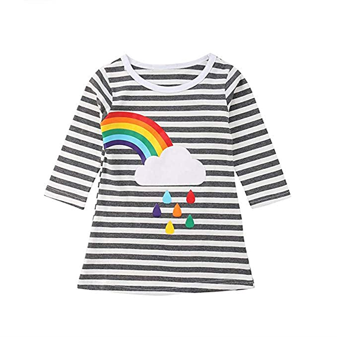 c67fad062 Toddler Kids Baby Girls Sisters Outfits Striped T-Shirt Dress Long Sleeve  Rainbow Print Skirt
