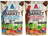 Plato Farmer's Market Real Strips Dog Treats 2 Flavor Variety Bundle: (1) Plato Farmer's Market Chicken & Vegetables Recipe Dog Treats and (1) Plato Farmer's Market Salmon Recipe Dog Treats, 14 Ounces Each (2 Bags Total) Review