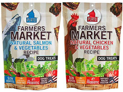 Plato Farmer's Market Real Strips Dog Treats 2 Flavor Variety Bundle: (1) Plato Farmer's Market Chicken & Vegetables Recipe Dog Treats and (1) Plato Farmer's Market Salmon Recipe Dog Treats, 14 Ounces Each (2 Bags Total)