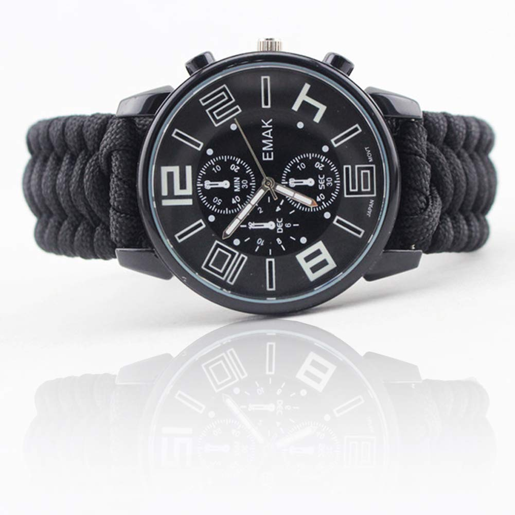 SPORS Camping Remote Infrared Watch, Outdoor Multi-Function Umbrella Rope Woven Watch, Emergency Survival Watch-Black by SPORS