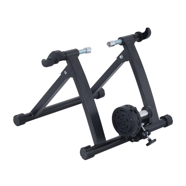 Homcom Rodillo Magnético de Ciclismo Rodillo Entrenamiento Bicicleta Plegable Resistencia Ajustable 54.5x47.2x39.1cm Acero SPANISH AOSOM