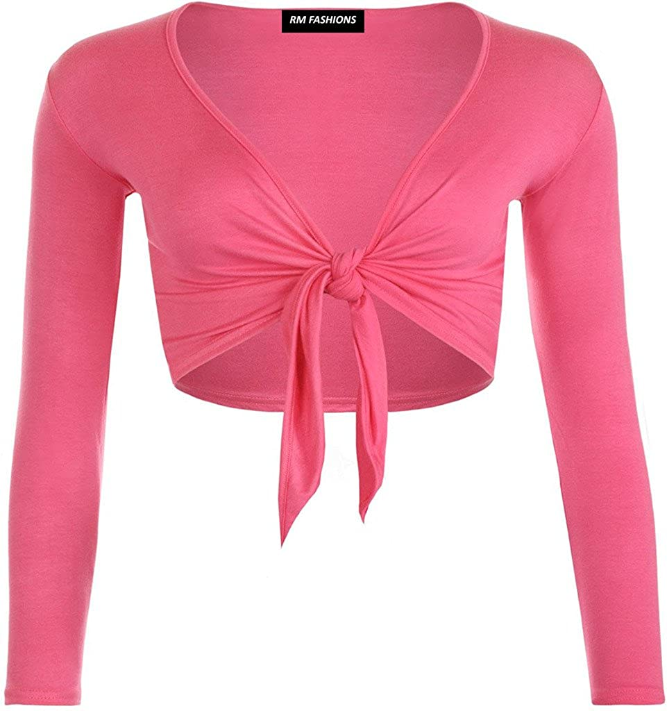 RM Fashions Womens Plain Long Sleeves Front Tie Knot Shrug Stretchy Bolero Cardigan Top Small - 3XL
