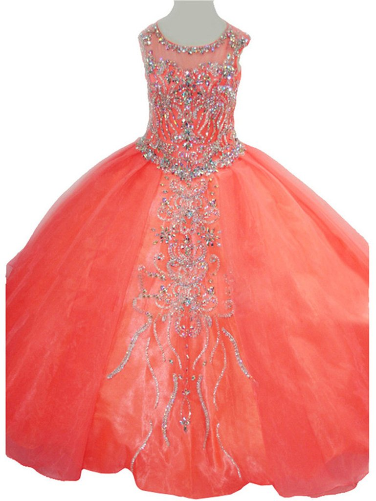 Yang Girls Jewel Party Princess Ball Gowns Pageant Dresses 14 US Coral