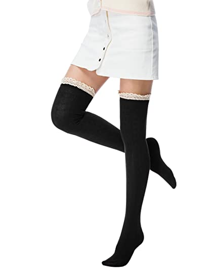 6167205b2 Fashion Extra Cotton Thigh High Socks light Black at Amazon Women s ...