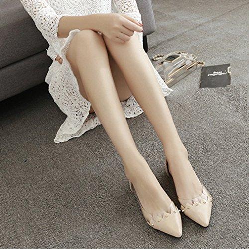 Giy Moda Para Mujer De Punta Estrecha Loafer Flat Slip-on Comfort Glitter Rivets Mary Jane Dress Zapatos De Ballet Beige