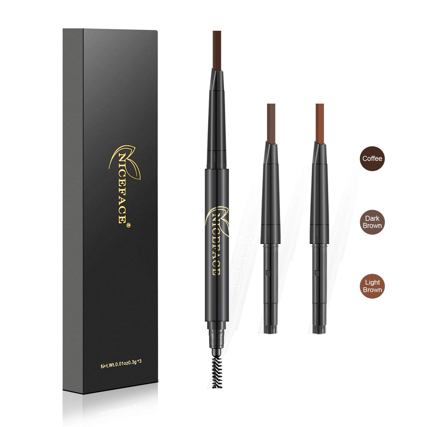 3-in-1 Eyebrow Pencil Brow Stylist Definer, Waterproof, Sweat-proof, Smudge-proof and Long-lasting Brow Filler, Dark Brown/Light Brown/Coffee, 0.01 oz