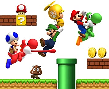 Super Mario Bros Repositionable Boys Bedroom Wall Stickers