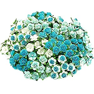 NAVA CHIANGMAI Artificial Mulberry Paper Rose Flower Mixed Color Tone Decorative Flowers for Crafts, Scrapbook Flowers Embellishments,Paper Craft Flowers,Mini Decorative Flowers. 70