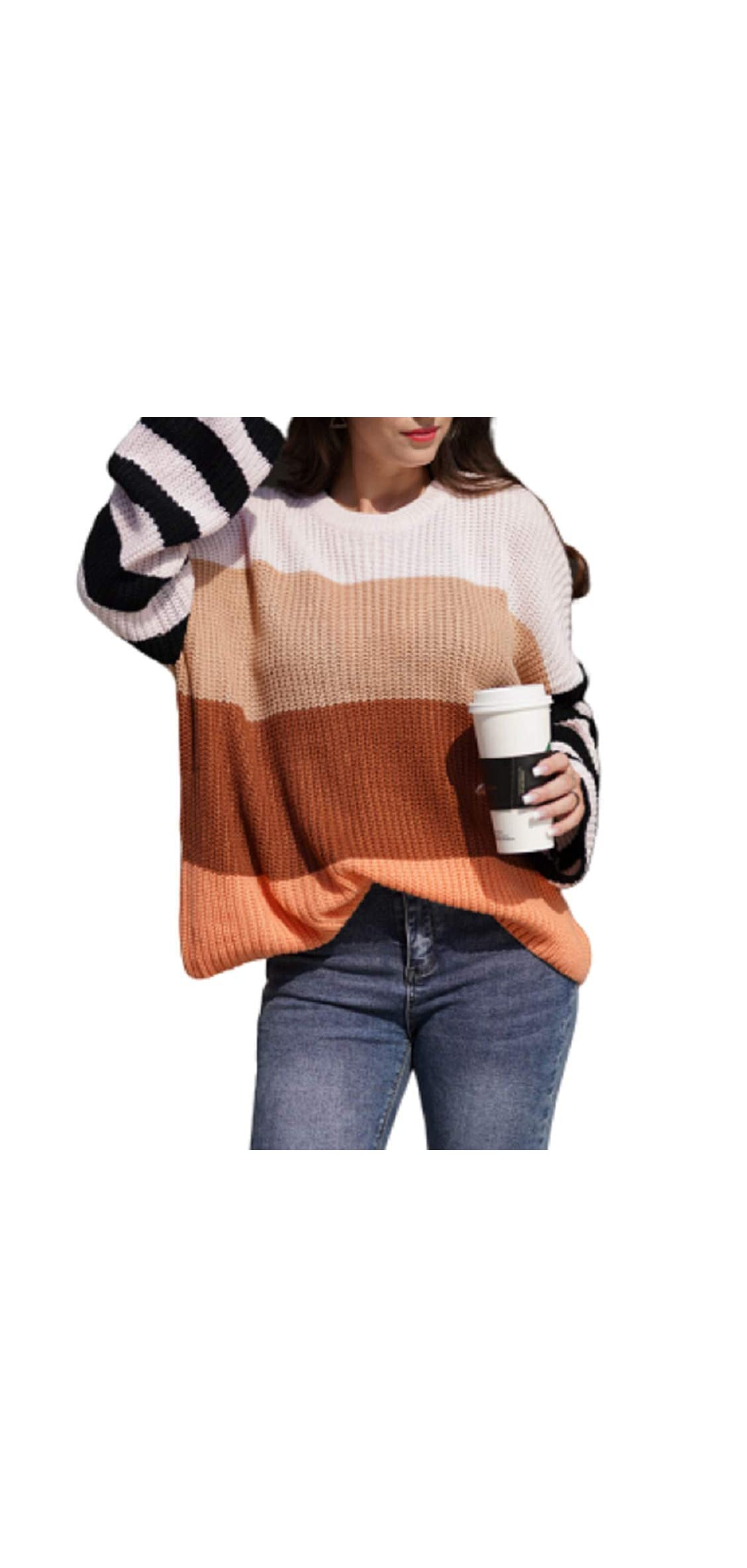 Womens Casual Crew Neck Color Block Oversized Lightweight