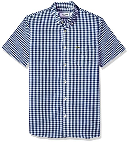 Lacoste+Men%27s+Short+Sleeve+with+Pocket+Gingham+Poplin+Regular+Fit+Woven+Shirt%2C+CH9608%2C+Heritage+Blue%2FWhite%2C+Small