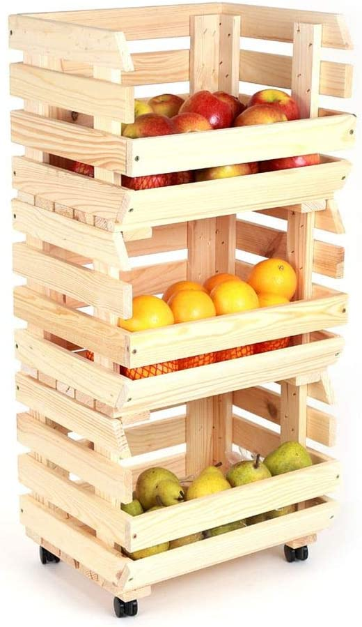 Fruta patata ilustradas escaleras de frutas estante de patata caja ...
