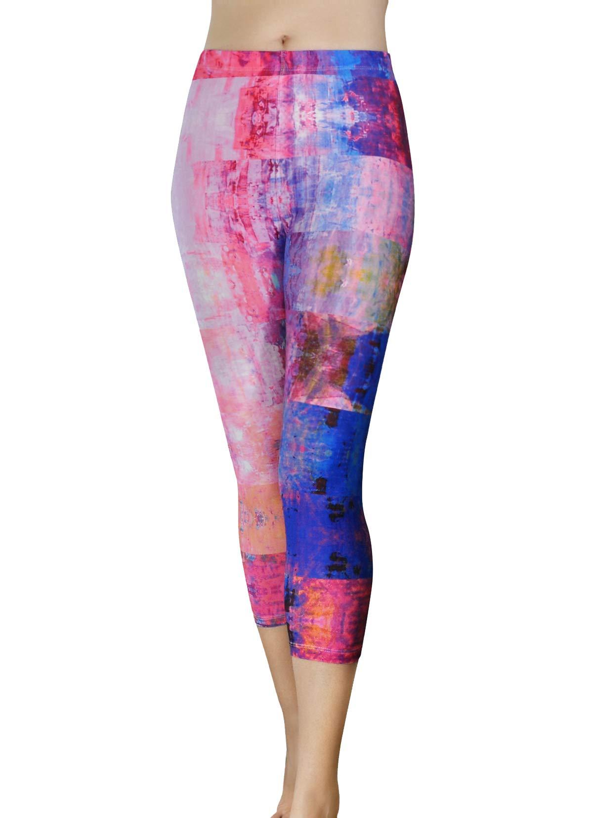 Comfy Yoga Pants - Workout Capris - High Waist Workout Leggings for Women - Lightweight Printed Yoga Legging (Capri Pink Opal)