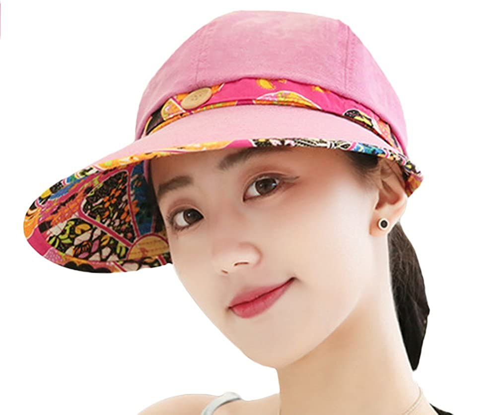 Leisial Women Lady Sun Hat Wide Brim Sunscreen Baseball Cap with Flower Lace Button Design Visor Summer Beach Cap Comfortable and Breathable