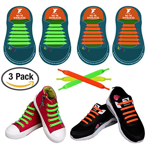 Tech Craft Solution Flat (No Tie Shoelaces for Kids and Adults, YUANFENG Tieless Elastic Silicone Waterproof Flat Athletic Running Shoe Laces (Kids Size-Orange+Green+Yellow))