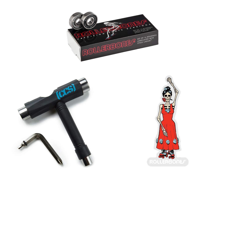 RollerBones Bearings 16 Pack, Black CCS Skate Tool Dancing Girl Sticker
