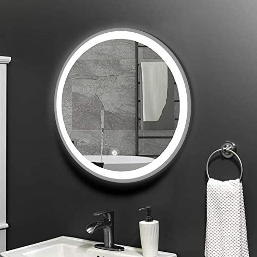 KAASUN 26 LED Lighted Round Mirror Wall Mount Circle Illuminated Bathroom Vanity Mirror