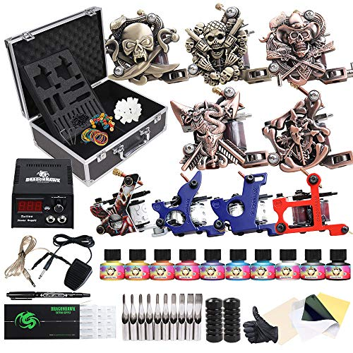 (Starter Beginner Complete Tattoo Kit with Carry Case Coils Tattoo Machine Power Supply Immortal Tattoo Inks 50 Needles Foot Pedal Grips Tips Set D23)