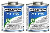 Weld-On 10123 Gray 711 Heavy-Bodied PVC Professional Industrial-Grade Cement, Medium-Setting, Low-VOC, 1/2 Pint Can with Applicator Cap (2-(Pack))