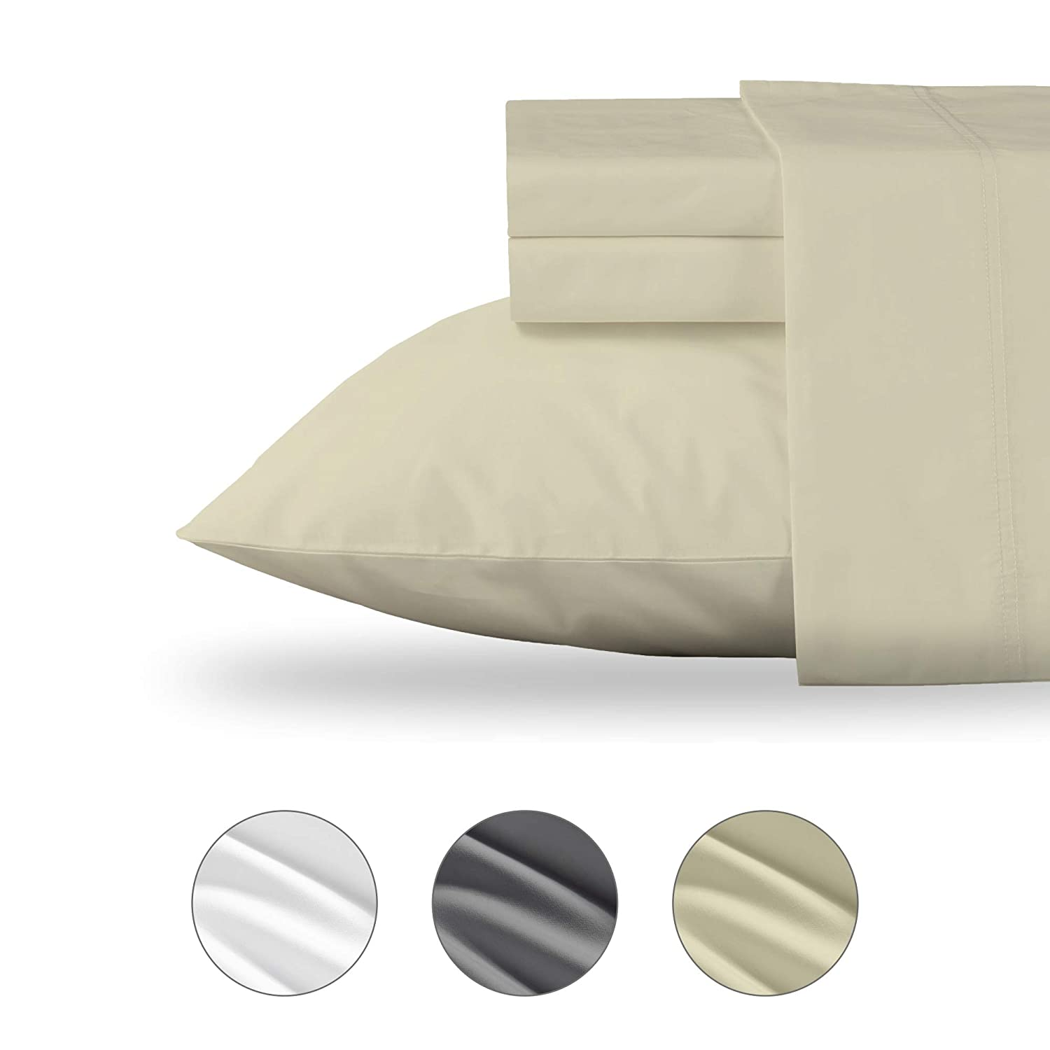California Design Den Organic Cotton Percale Weave 3 Piece Sheet Set