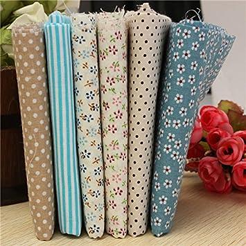 6pcs 50 x 50 cm algodón multicolor coser tela muñecas Monedero trabajos manuales, paños de Patchwork: Amazon.es: Hogar