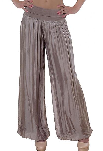 3b680b06f Caspar KHS010 Pantalones Anchos para Mujer de Seda/Pantalón de Harén ...