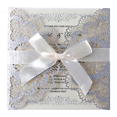 Hosmsua 20pcs Silver Laser Cut lace Flowers Wedding Invitations Cards with Bowknot for Wedding Engagement Bridal Shower Baby Shower Birthday Quinceanera (Silver Glitter)