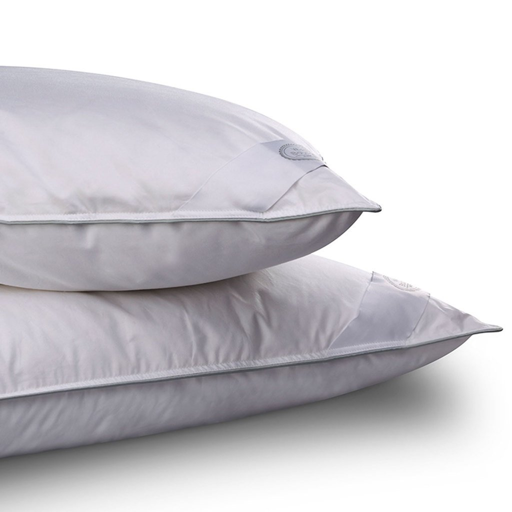 SILVER by WHITE BOUTIQUE- European White Goose Down Pillow- Pillows for Sleeping- Luxury Cotton Cover- Pack of 2