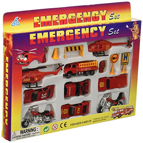 Rhode Island Novelty 15 Piece Die Cast Fire Engine Team Set